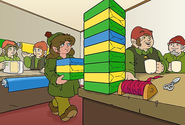 Neben Oswald steht ein Stapel Geschenke. Die Reihenfolge der Farben von unten ist: grün gelb grün grün gelb blau grün gelb grün
